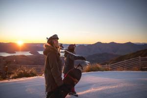 Skiier Snowboarder