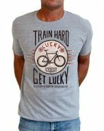 Cycology Men's Crew Neck Tee Train Hard Get Lucky - Grey