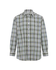 R.M. Williams Cradock Long Sleeve Shirt - White Brown Navy