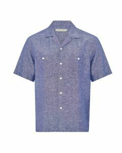 RM Williams Noosa Beach Short Sleeve Shirt - Navy/White
