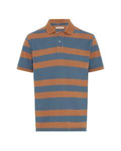 R.M. Williams Rod Mid Stripe Polo - Brown Blue